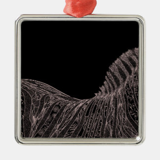 Ornement Carré Argenté Conception abstraite magnifique de fleurs de zèbre