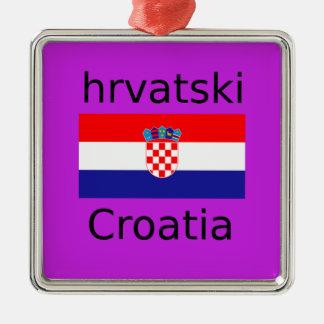 Ornement Carré Argenté Conception croate de drapeau et de langue