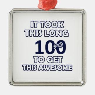 Ornement Carré Argenté conception de 100 anniversaires