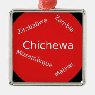 Ornement Carré Argenté Conception de langue de Chichewa