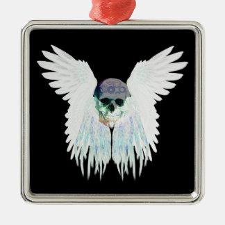 Ornement Carré Argenté Conception gothique à ailes de crâne parfaite pour