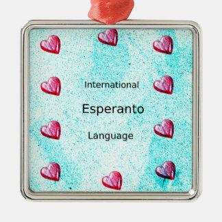 Ornement Carré Argenté Conception internationale de langue d'espéranto