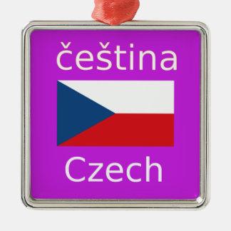 Ornement Carré Argenté Conception tchèque de drapeau et de langue