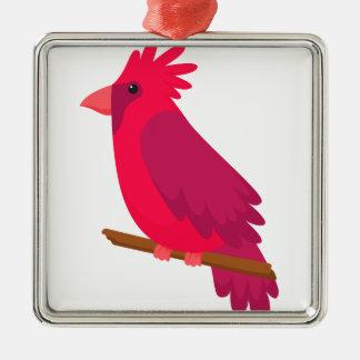 Ornement Carré Argenté cool coloré de conception d'art d'oiseau