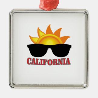 Ornement Carré Argenté cool rouge de la Californie