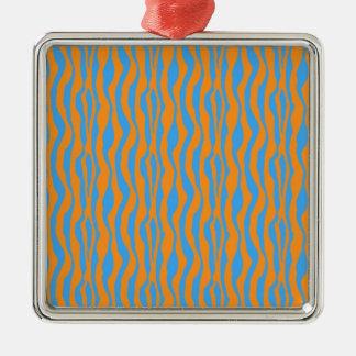 Ornement Carré Argenté Copie orange et bleue de zèbre