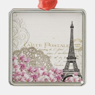 Ornement Carré Argenté Copie vintage de Tour Eiffel de Paris