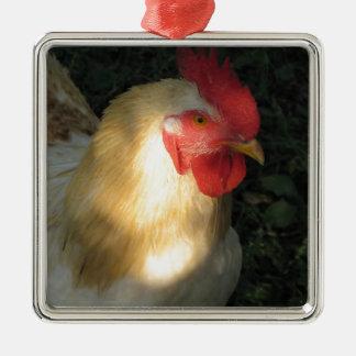 Ornement Carré Argenté Coq