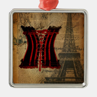 Ornement Carré Argenté corset girly de Tour Eiffel vintage de Paris
