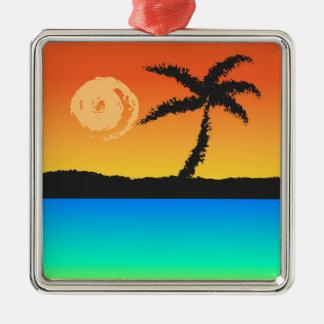 Ornement Carré Argenté Coucher du soleil d'île