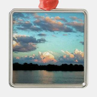 Ornement Carré Argenté Coucher du soleil rose du fleuve Mississippi