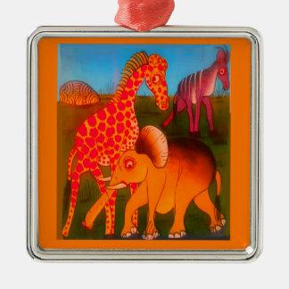 Ornement Carré Argenté Couleurs africaines colorées de safari d'animal