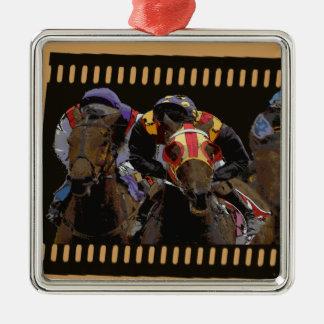 Ornement Carré Argenté Course de chevaux sur la bande de film