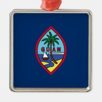 Ornement Carré Argenté Coût bas ! Drapeau de la Guam