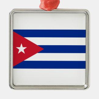 Ornement Carré Argenté Coût bas ! Drapeau du Cuba