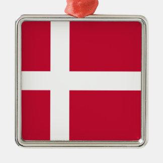 Ornement Carré Argenté Coût bas ! Drapeau du Danemark