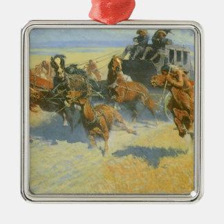 Ornement Carré Argenté Cowboy vintage, avalant le chef proche, Remington