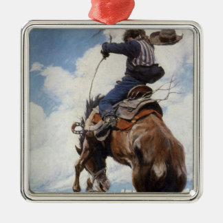 Ornement Carré Argenté Cowboys occidentaux vintages, s'opposant par OR