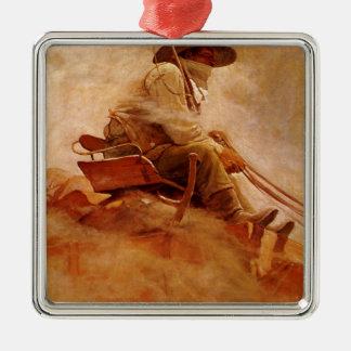 Ornement Carré Argenté Cowboys vintages, le chariot de minerai par OR
