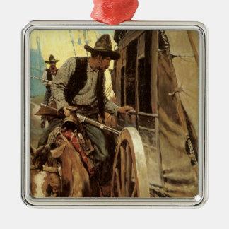 Ornement Carré Argenté Cowboys vintages, le hors-la-loi excellent par OR