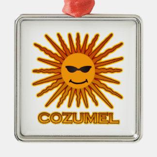 Ornement Carré Argenté Cozumel Mexique Sun font face