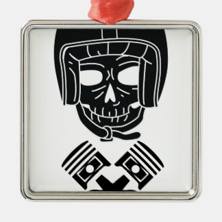 Ornement Carré Argenté Crâne de casque de moto
