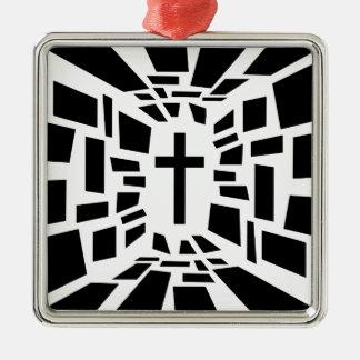 Ornement Carré Argenté Croix chrétienne