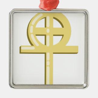 Ornement Carré Argenté Croix gnostique