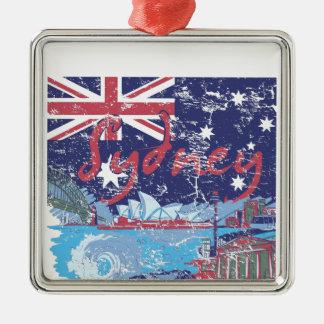 Ornement Carré Argenté cru australie de Sydney