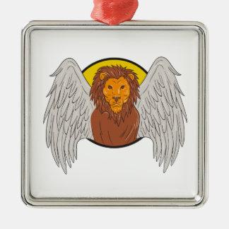 Ornement Carré Argenté Dessin à ailes de cercle de tête de lion