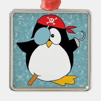 Ornement Carré Argenté Dessin de pingouin de pirate