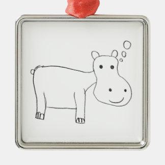 Ornement Carré Argenté Dessin d'hippopotame en noir et blanc