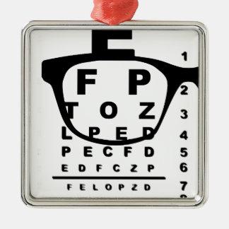 Ornement Carré Argenté Diagramme d'essai d'oeil de Blurr