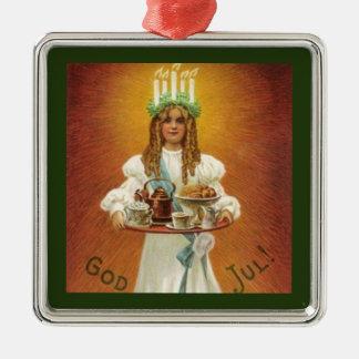 Ornement Carré Argenté Dieu juillet ! Lucia avec des festins