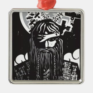 Ornement Carré Argenté Dieu Odin des norses avec les corneilles en