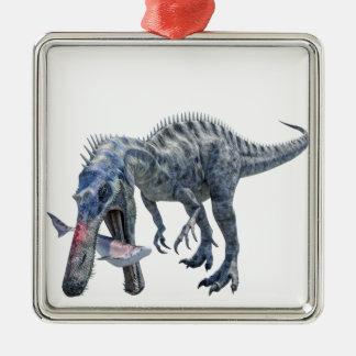 Ornement Carré Argenté Dinosaure de Suchomimus mangeant un requin