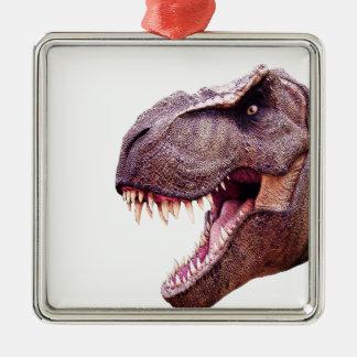 Ornement Carré Argenté Dinosaures T-Rex