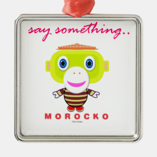 Ornement Carré Argenté Dites le Singe-Morocko Quelque chose-Mignon