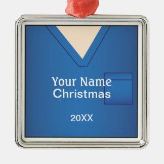 Ornement Carré Argenté Docteur Scrubs Christmas Blue Premium 2