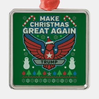 Ornement Carré Argenté Donald Trump rendent Noël grand encore