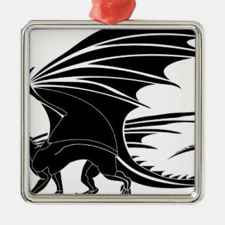 Ornement Carré Argenté Dragon fâché