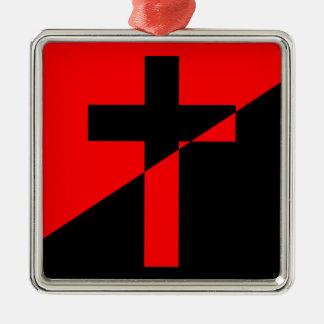 Ornement Carré Argenté Drapeau chrétien de christianisme d'anarchie