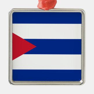 Ornement Carré Argenté Drapeau cubain - Bandera Cubana - drapeau du Cuba