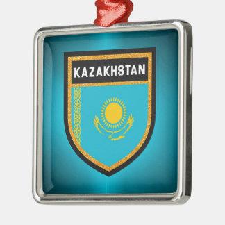 Ornement Carré Argenté Drapeau de Kazakhstan