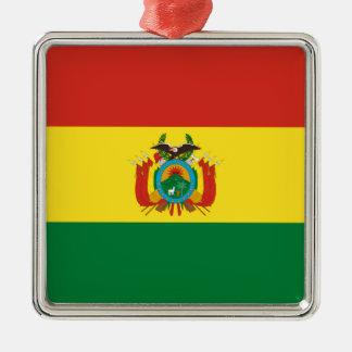 Ornement Carré Argenté Drapeau de la Bolivie