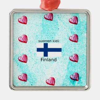 Ornement Carré Argenté Drapeau de la Finlande et conception finlandaise