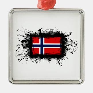 Ornement Carré Argenté Drapeau de la Norvège