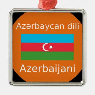 Ornement Carré Argenté Drapeau de l'Azerbaïdjan et conception de langue