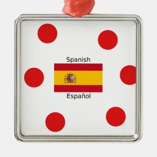 Ornement Carré Argenté Drapeau de l'Espagne et conception de langue
