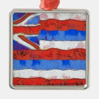 Ornement Carré Argenté Drapeau d'Hawaï